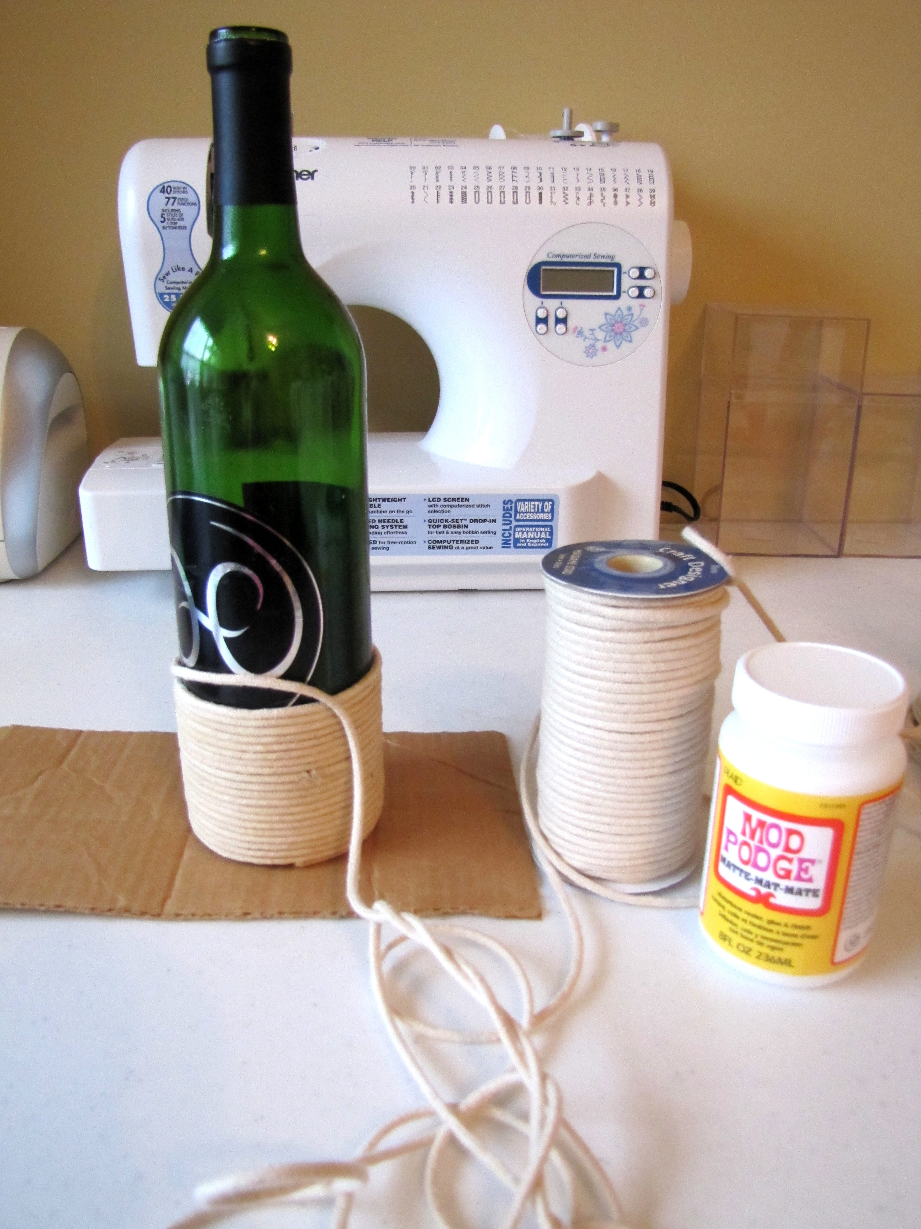 Wine Bottle Decor - Twine Wrapped Wine Bottle with ... |Twine Covered Wine Bottles
